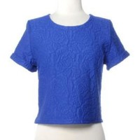 Weekend Picnic Embossed Floral Short Sleeve Crop Top in Royal Blue | Sincerely Sweet Boutique