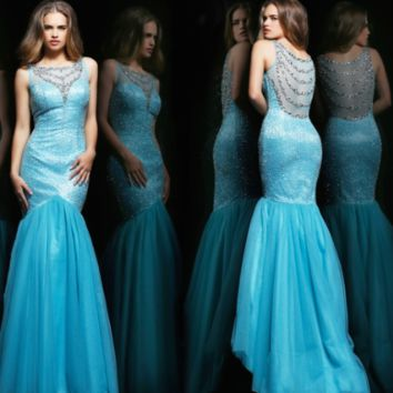 Aqua and Silver Evening Sherri Hill Dress #11090