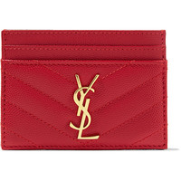 Saint Laurent - Quilted textured-leather cardholder