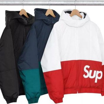 ONETOW Supreme Sideline Side Logo Parka Cardigan Jacket Coat Windbreaker