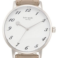 Women's kate spade new york 'metro' quilted leather strap watch, 34mm - Clocktower Grey