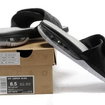 PEAPGE2 Beauty Ticks Nike Air Lebron Slide 78251460 Black/white Casual Sandals Slipper Shoes Size Us 7-11