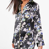 Ruby Dark Floral Satin Night Dress | Boohoo