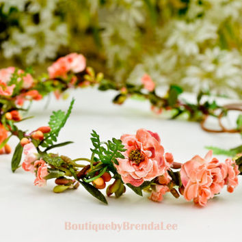 BRENDA LEE Pom Pom Primroses head wreath/twig/garland/crown/circlet/flower girl halo/bridesmaid crown/wedding/small bud/green berry