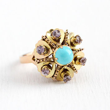 Vintage Cluster Ring - 14k Rosy Yellow Gold Genuine Pink Sapphire & Turquoise Statement - Size 6 3/4 Retro 1960s Gem Flower Fine Jewelry