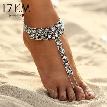 17KM New Vintage Ankle Bracelet Bohemian Flower Anklets Leg Jewelry chaine cheville Silver Color Tassel barefoot sandals Macchar Cosplay Catalogue