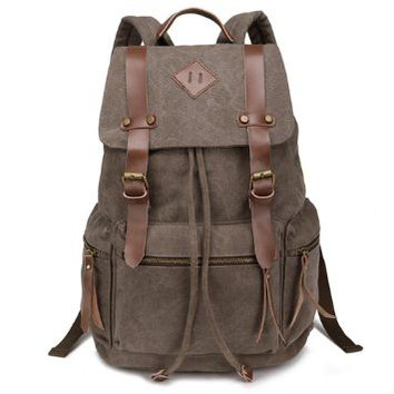 EasyBest Fashion Leisure Men's Bags Casual Canvas Leather Backpack Shoulder Laptop Bag School Bookbag Backpack Rucksack Hiking Daypack