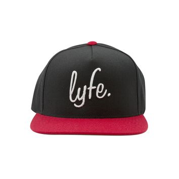 LYFE Script Snapback Hat - Black/Red