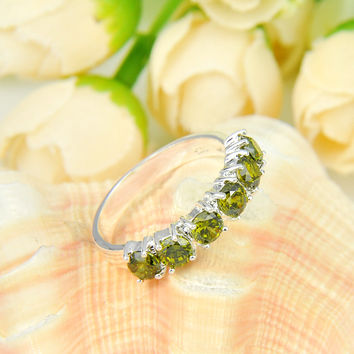 Promotion Jewelry Luckyshine Antique Square Fire Peridot Silver Plated Wedding Rings Russia USA Holiday Australia Rings
