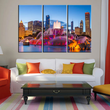 LARGE Wall Art Chicago 3 Panel Canvas Print for Wall Decoration - America Canvas Print - Chicago Canvas Art Print