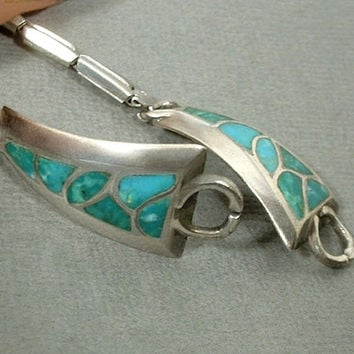 Vintage STERLING Silver Native American TURQUOISE Watch Tips WATCHBAND Wristwatch Band Inlay Mosaic Blue Green Gemstones c.1960's