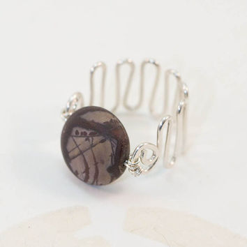 Ring Gemstone Sterling Silver Dark Purple Wide Band Wire Wrapped