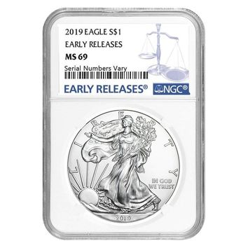 2019 1 oz Silver American Eagle MS-69 NGC (Early Releases)