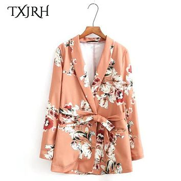 TXJRH Fashion Blazers Kimono Flower Floral Sashes Suit Slim Jacket Long Sleeve OL Retro Women Cardigan Tops Outerwear SY17-04-52