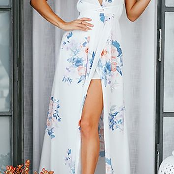 Blossoming Love White Blue Floral Spaghetti Strap Sleeveless V Neck Backless Slit Casual Maxi Dress