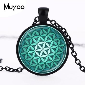 FLOWER OF LIFE Pendant Teal Green Aqua Spiritual Jewelry Inspirational Necklace Sacred Geometry Meditation Jewelry HZ1