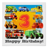 Kids Custom Age Construction Truck Happy Birthday Perfect Poster