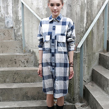 Plaid shirt, long women shirt, blue shirt, long sleeve cotton shirt dress (ESR158)