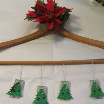 Christmas Tree Ceramic Tile Ornament - Set of 4 - Clear Tiles With Metallic Decorated Trees