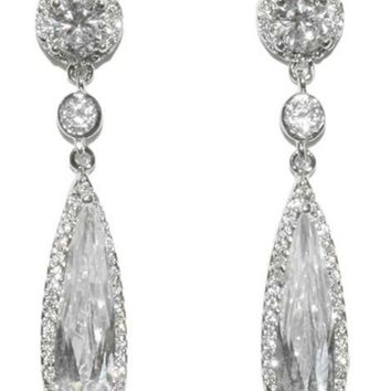 Krisma Long Pear Drop Dangle Earrings | 7ct | Cubic Zirconia | Silver