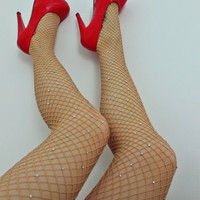 Crystal Diamond Fishnet Pantyhose Stockings