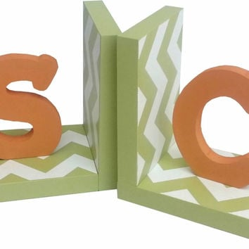 Modern Typewriter Initial Worm Green and Orange Chevron Bookends