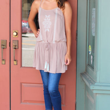 Blissful Boho Tunic Tank {Mocha}