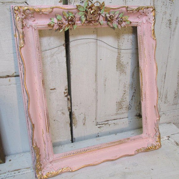 Pink Picture Frame Large Vintage Wooden From