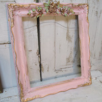 Pink picture frame large vintage wooden shabby chic embellished with roses wall hanging by anita spero