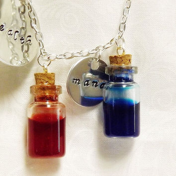 Hand Stamped Health and Mana Potion Necklace - Video Game Charm Necklace