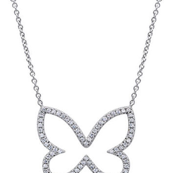 Crislu Platinum and Cubic Zirconia Butterfly Pendant Necklace