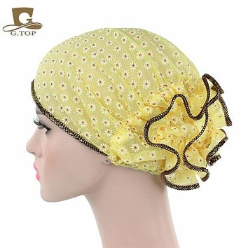 New Women Lace flower Turban Beanie Hat Bonnet Chemo Cap Muslim Scarf Hijab Islamic turbante