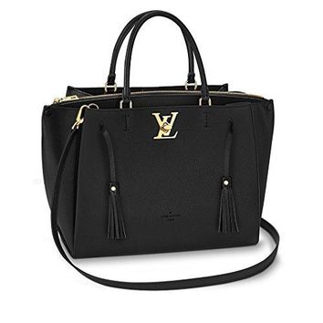 Louis Vuitton Calfskin Leather Tote Handbag LOCKMETO Noir Article: Noir M54569 Made in France