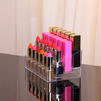 24 Grid Lipstick Storage Box Acrylic Transparent Makeup Organizer Cosmetic Display Stand Lipstick Holder