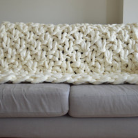 Super Chunky Blanket - Silk Wrapped Merino Knit Throw