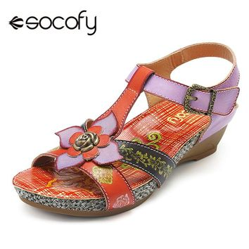 Socofy Retro Genuine Leather Shoes Woman Vintage Bohemian Sandals Hook Loop Buckle Wedge Heel Beach Sandals Summer Women Shoes