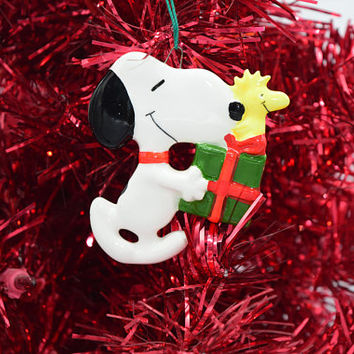 Snoopy Woodstock Christmas Ornament Vintage Ceramic Peanuts Christmas Tree Ornament Charlie Brown Holiday Tree Accessory Christmas Decor