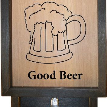 "Wooden Shadow Box Bottle Cap Holder with Bottle Opener 9""x15"" - Good Times Good Beer 2"
