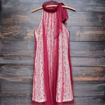 Ryu lace bound dress - merlot