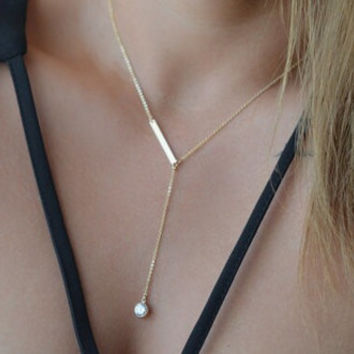 Bar Y Necklaces/ 14k Gold Filled Lariat Necklace / Crystal and Bar Necklace / Minimal, Simple Everyday Necklaces