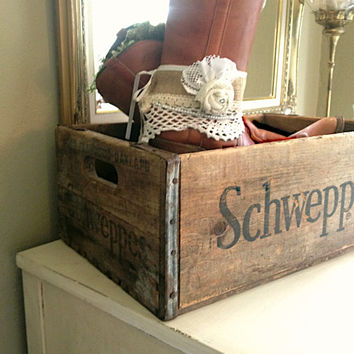 WOOD BOX Schweppes Old Vintage Crate Storage Box Rustic Photo Prop, Country Cabin Garden Home Decor