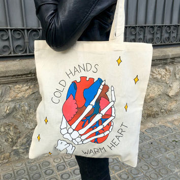 "Tote bag ""Cold Hands, Warm Heart"" tattoo ink valentine's day skull shopping bag"