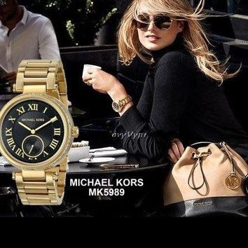 MICHAEL KORS WOMEN'S GOLD AND BLACK COLLECTION WATCH MK5989
