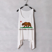 California Flag  Women Tank Top  White  Sides Drop by zzzAfternoon