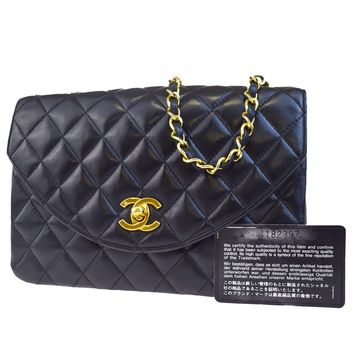 Auth CHANEL CC Logos Quilted Chain Shoulder Bag Leather Black Vintage 668L303