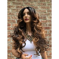Balayage Brown Volume Curls Hair Swiss Lace Front Wig 26"