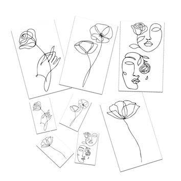 Single Line Flower Temporary Tattoos