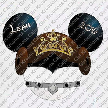 Star Wars Princess Leia w/ Name/Date Minnie Mouse Crown Head Disney Vacation Birthday Printable Iron On Transfer DIY Clipart