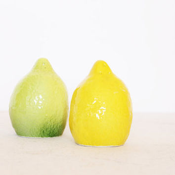 Vintage lemon and lime salt and pepper shakers