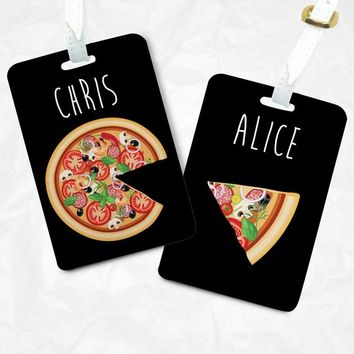 Valentines day gift for him Pizza and missing piece Tags set, Luggage Tags, Bag Tags, Gift for her, Wedding Gifts, Personalized Gift